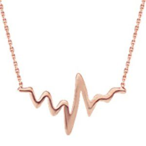 Sterling Silver Rose Gold Heartbeat Pulse Necklace